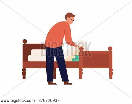 Man Putting Money Under Mattress Vector Flat Illustration. Male Trying Saving Income No Trust Financ