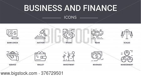 Business And Finance Concept Line Icons Set. Contains Icons Usable For Web, Logo, Ui Ux Such As Auct