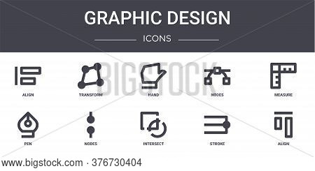 Graphic Design Concept Line Icons Set. Contains Icons Usable For Web, Logo, Ui Ux Such As Transform,