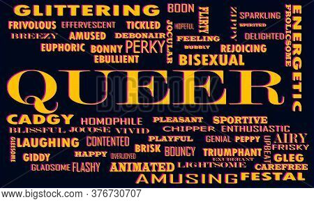 Queer Word Which Presented Human Love Relationship With Related Terminology Vector Illustration.