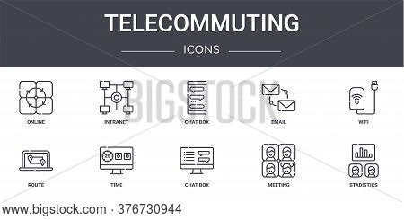 Telecommuting Concept Line Icons Set. Contains Icons Usable For Web, Logo, Ui Ux Such As Intranet, E
