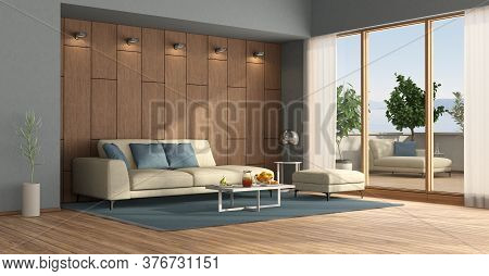 Modern Living Room With Sofa , Wooden Paneling And Terrace With Chaise Lounge And Plants- 3d Renderi