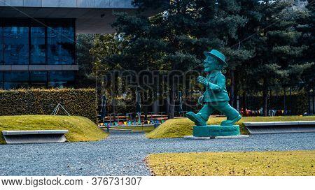 Berlin, Germany - 20 September 2019: Cute giant Ampelmann statue in Berlin, Germany