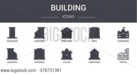Building Concept Line Icons Set. Contains Icons Usable For Web, Logo, Ui Ux Such As Apartment, Hotel