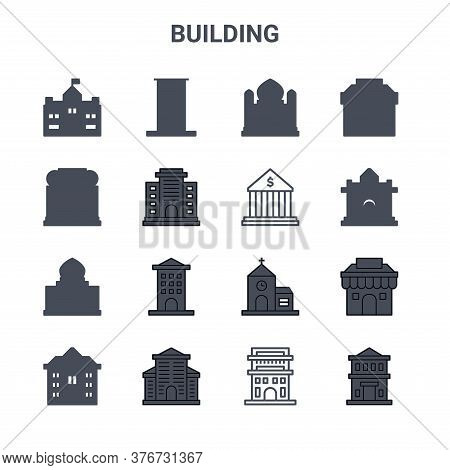 Set Of 16 Building Concept Vector Line Icons. 64x64 Thin Stroke Icons Such As Skyscraper, Hotel, Col