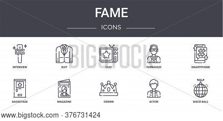 Fame Concept Line Icons Set. Contains Icons Usable For Web, Logo, Ui Ux Such As Suit, Paparazzi, Bac