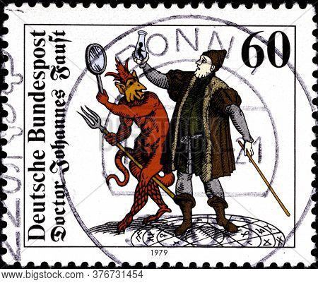 02 09 2020 Divnoe Stavropol Territory Russia The Postage Stamp Germany 1979 Dr. Johannes Faust Faust
