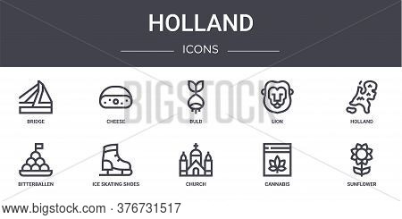 Holland Concept Line Icons Set. Contains Icons Usable For Web, Logo, Ui Ux Such As Cheese, Lion, Bit