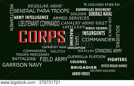 Corps A Military Word Reflected With Related Meaningful Words On Text Cloud Vector Illustration