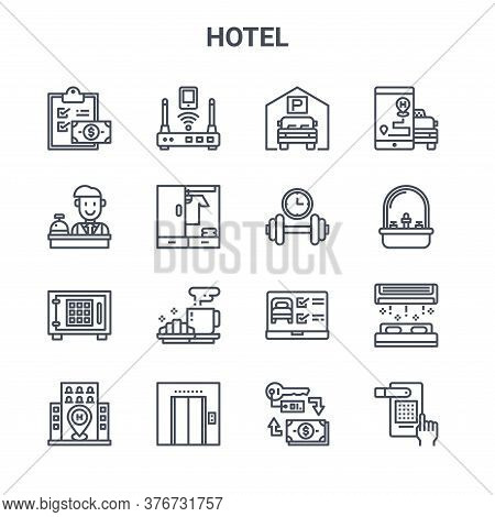 Set Of 16 Hotel Concept Vector Line Icons. 64x64 Thin Stroke Icons Such As Router, Reception, Sink,