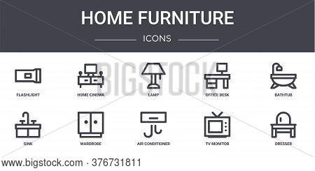 Home Furniture Concept Line Icons Set. Contains Icons Usable For Web, Logo, Ui Ux Such As Home Cinem