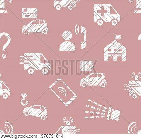Emergency Services, Seamless Pattern, Contour Pattern, White, Monochrome, Flat, Vector. Fine Outline