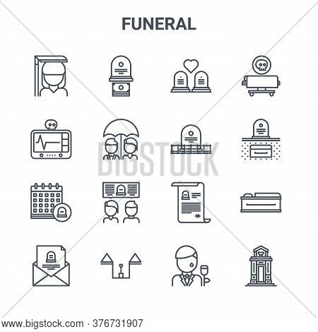 Set Of 16 Funeral Concept Vector Line Icons. 64x64 Thin Stroke Icons Such As Funeral, Cardiogram, Gr