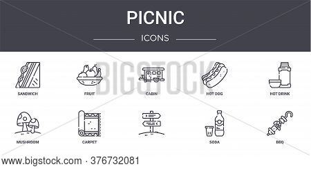 Picnic Concept Line Icons Set. Contains Icons Usable For Web, Logo, Ui Ux Such As Fruit, Hot Dog, Mu