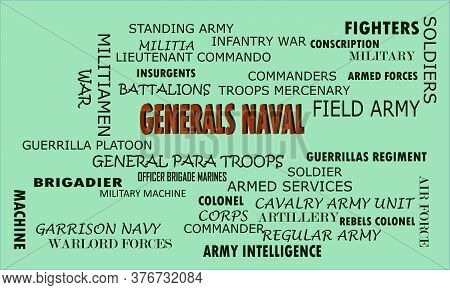 Generals Word Reflected With Related Meaningful Words On Text Cloud Vector Illustration
