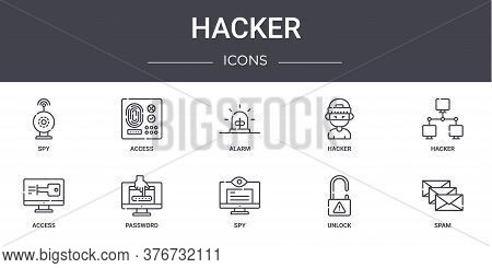 Hacker Concept Line Icons Set. Contains Icons Usable For Web, Logo, Ui Ux Such As Access, Hacker, Ac