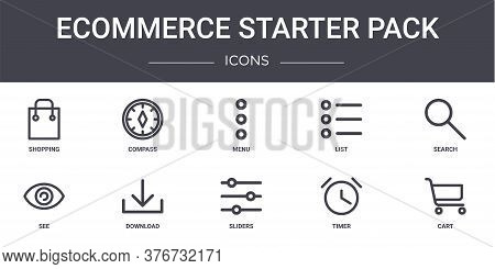 Ecommerce Starter Pack Concept Line Icons Set. Contains Icons Usable For Web, Logo, Ui Ux Such As Co