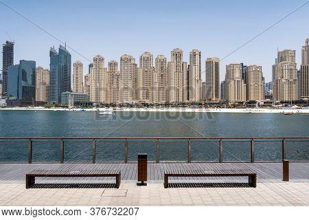 Dubai, United Arab Emirates. Jumeirah Beach Residence Skyline With Jbr Beach, Seen From Bluewaters I