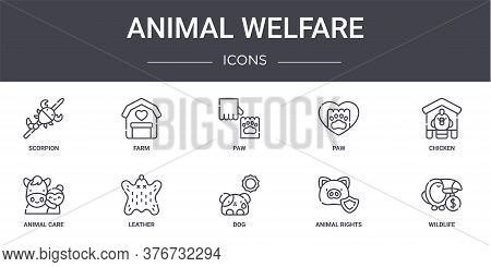 Animal Welfare Concept Line Icons Set. Contains Icons Usable For Web, Logo, Ui Ux Such As Farm, Paw,