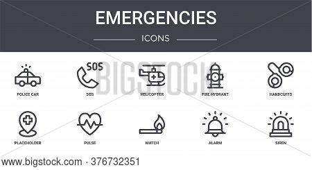Emergencies Concept Line Icons Set. Contains Icons Usable For Web, Logo, Ui Ux Such As Sos, Fire Hyd