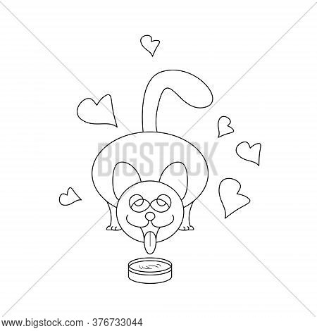 Cat Drinking Milk. Funny And Cute. With Little Hearts. Coloring Page. Vector.