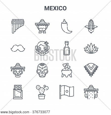 Set Of 16 Mexico Concept Vector Line Icons. 64x64 Thin Stroke Icons Such As Mexican Man, Moustache,