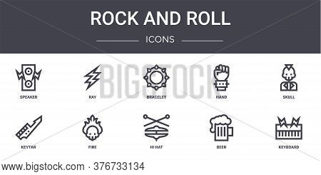 Rock And Roll Concept Line Icons Set. Contains Icons Usable For Web, Logo, Ui Ux Such As Ray, Hand,