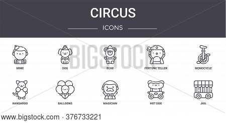 Circus Concept Line Icons Set. Contains Icons Usable For Web, Logo, Ui Ux Such As Dog, Fortune Telle