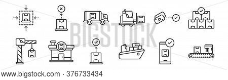 12 Set Of Linear Shipping And Delivery Icons. Thin Outline Icons Such As Conveyor Belt, Cargo Ship,