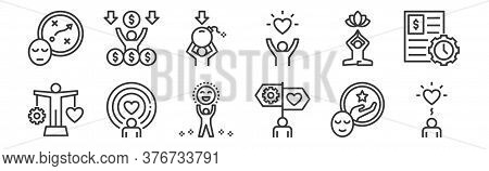 12 Set Of Linear Work Life Balance Icons. Thin Outline Icons Such As Wellness, Guidance, Spirit, Rel