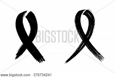 Black Ribbon Collection Hand Drawn Art Isolated On White Background. Vector Illustration. Ink Brushe