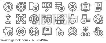 Cryptocurrency Line Icons. Linear Set. Quality Vector Line Set Such As Bitcoin, Reward, Bitcoin, Sav