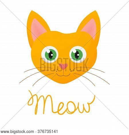 Cartoon Red Cat With Green Eyes. Cute Character Of Animal Print. Meow Slogan. Children Illustration