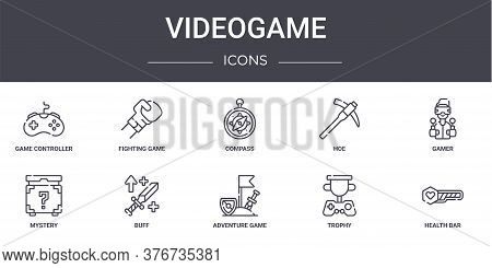 Videogame Concept Line Icons Set. Contains Icons Usable For Web, Logo, Ui Ux Such As Fighting Game,