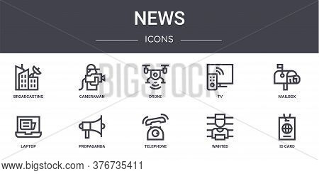 News Concept Line Icons Set. Contains Icons Usable For Web, Logo, Ui Ux Such As Cameraman, Tv, Lapto