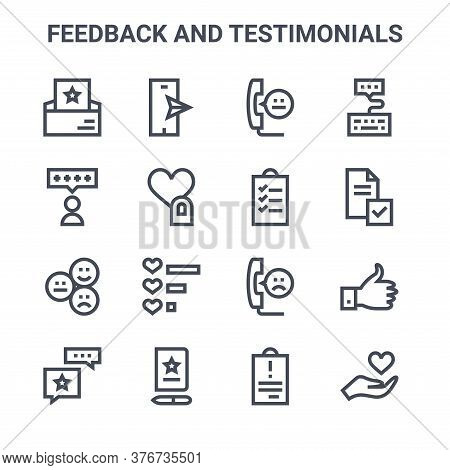 Set Of 16 Feedback And Testimonials Concept Vector Line Icons. 64x64 Thin Stroke Icons Such As Smart