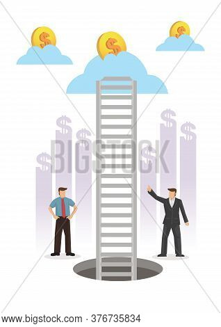 Businessman On The Journey Up The Ladder To A Cloud With Coins. Concept Of Challenge Or Opportunity.