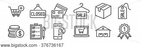 12 Set Of Linear Ecommerce Icons. Thin Outline Icons Such As Guarantee Certificate, Online Shopping,