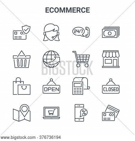 Set Of 16 Ecommerce Concept Vector Line Icons. 64x64 Thin Stroke Icons Such As Client Support, Shopp