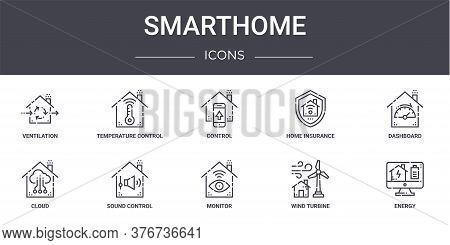 Smarthome Concept Line Icons Set. Contains Icons Usable For Web, Logo, Ui Ux Such As Temperature Con