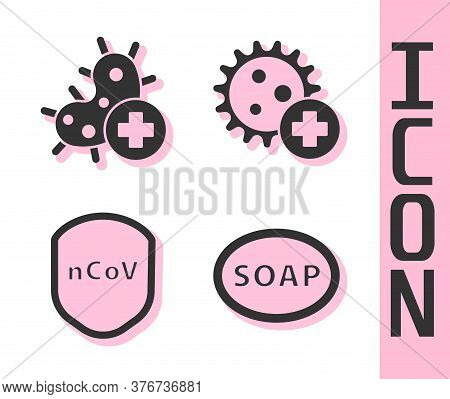 Set Bar Of Soap, Positive Virus, Shield Protecting From Virus And Positive Virus Icon. Vector