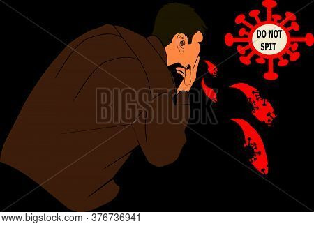 A Man In Brown Shirt Spitting Corona Virus Bacteria On The Wall A Cartoon Vector With Infected Bacte