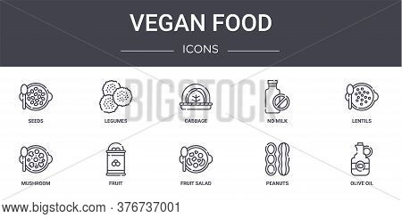 Vegan Food Concept Line Icons Set. Contains Icons Usable For Web, Logo, Ui Ux Such As Legumes, No Mi