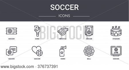Soccer Concept Line Icons Set. Contains Icons Usable For Web, Logo, Ui Ux Such As Card, Soccer, Socc
