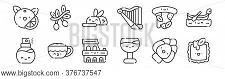 12 Set Of Linear Italy Icons. Thin Outline Icons Such As Ravioli, Wine, Cappuccino, Pizza, Steak, Ol