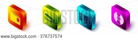 Set Isometric Document Folder, Office Stapler, Computer Monitor And Cd Or Dvd Disk Icon. Vector
