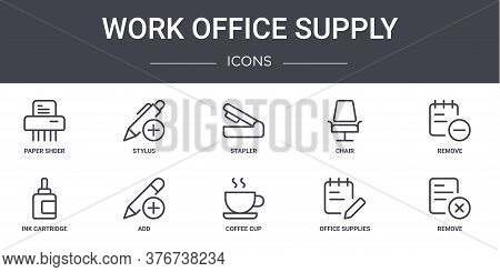 Work Office Supply Concept Line Icons Set. Contains Icons Usable For Web, Logo, Ui Ux Such As Stylus