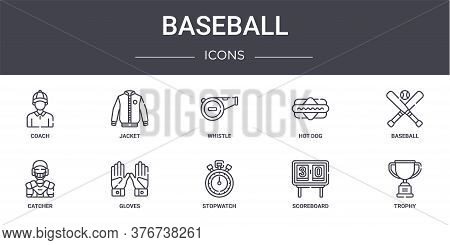Baseball Concept Line Icons Set. Contains Icons Usable For Web, Logo, Ui Ux Such As Jacket, Hot Dog,