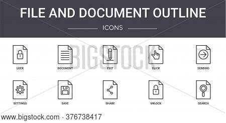 File And Document Outline Concept Line Icons Set. Contains Icons Usable For Web, Logo, Ui Ux Such As