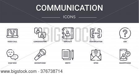 Communication Concept Line Icons Set. Contains Icons Usable For Web, Logo, Ui Ux Such As Conversatio
